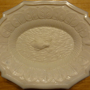 Atterbury milk glass swimming retriever platter - Glassware