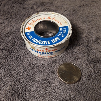 old spool of JOHNSON & JOHNSON RED CROSS first aid tape - Advertising