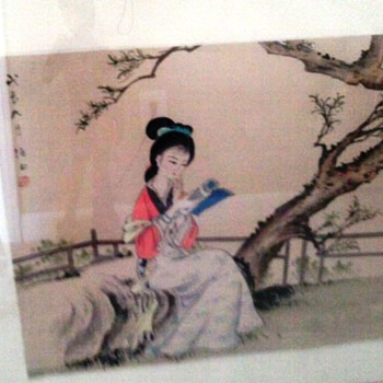 Asian watercolor painting on paper - Asian