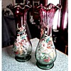 """Victorian Cranberry and Green Glass 14"""" Vases /Ruffle Top Raised Floral Enamel/ Circa Late 19th Early 20th Century"""
