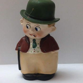 Chalk ware man with green hat and Googly eyes. The hat comes off. 1930's? Germany. 7886.  May be a trinket or tobacco box.  - Figurines