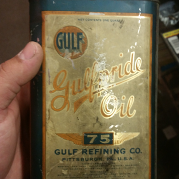 gulfpride 75 1 quart oil can - Petroliana