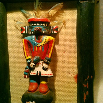 Kachina dolls, carved wooden walking stick - Native American