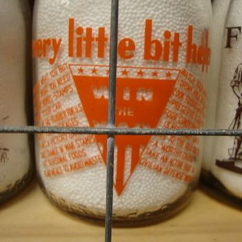 OLD HOMESTEAD FARM....MASSENA, NEW YORK WAR SLOGAN MILK BOTTLE - Bottles