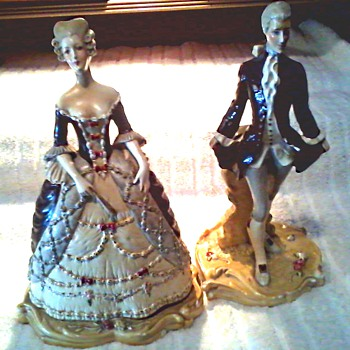 Courtly Couple Figurines # 703 #704 /Plaster-Chalkware/Unknown Maker and Age - Figurines