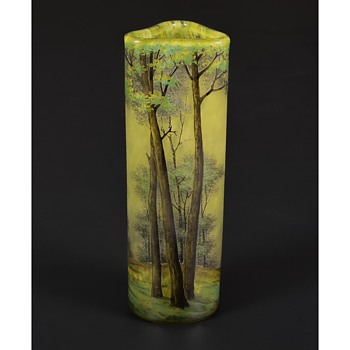 "Daum Enameled Cameo Glass ""Summer Landscape"" Vase - Rare Trefoil Form. c.1900. - Art Glass"