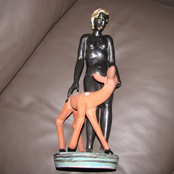 Art  deco Keramis terracotta nude figure - Art Deco