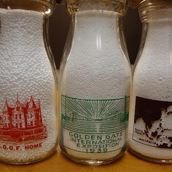 Variety of 1/2 pint milk bottles.....