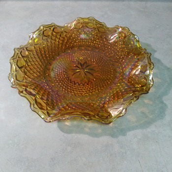INDIANA GLASS MARIGOLD IRIDESCENT TRAY - Glassware