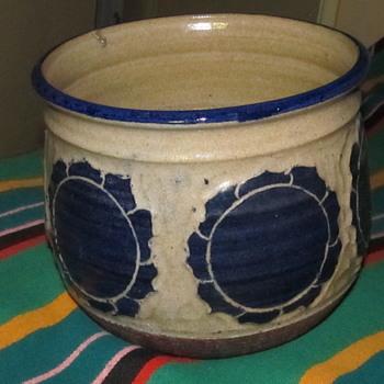 Blue Pottery Pot Signed  - Pottery