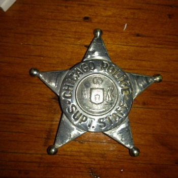 chicago police supt. staff badge 1920,s