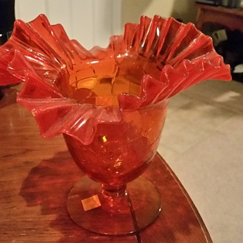 Blenko #388 Orange vase - Art Glass