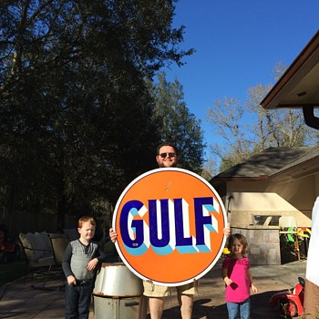 "1920's GULF 42"" porcelain sign - Petroliana"