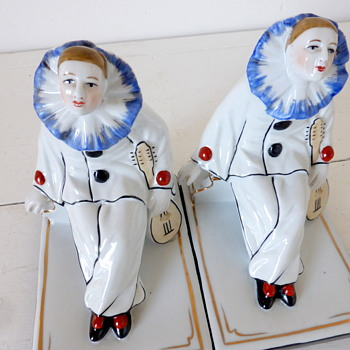 Pair of Art Deco Pierrot Porcelain Bookends, French or German?