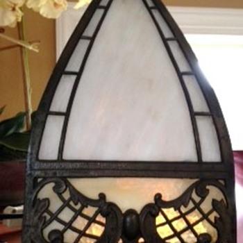 Vintage 1920's Slag Glass table lamp?  Please help identify.