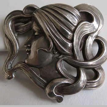 Lovely Art Nouveau Pin 925 Sterling - Art Nouveau
