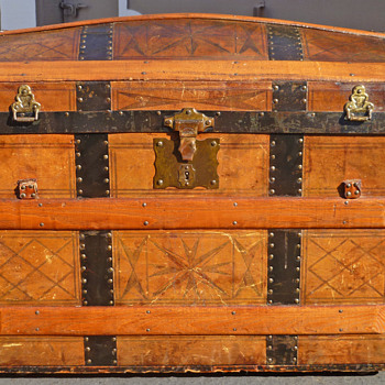 Early 1870's Leather Covered Trunk - Furniture