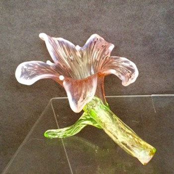 Kralik Pink Green Vaseline Floriform Vase  - Art Glass