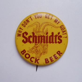 Vintage Schmidt's of Philadelphia Celluloid Bock Beer Pinback - Advertising
