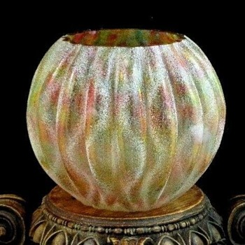 Bohemian Rainbow Art Glass Rose Bowl with Applied Frit - Art Glass