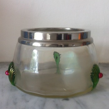 "Iridescent trinket pot with applied claws and ""jewels"", chrome rim - Art Glass"