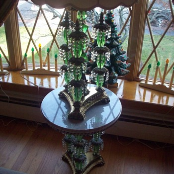 """Funky"" green glass, crystal, bronze and marble 60's marvel! - Lamps"