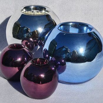 Czech mercury glass candle holders - Art Glass