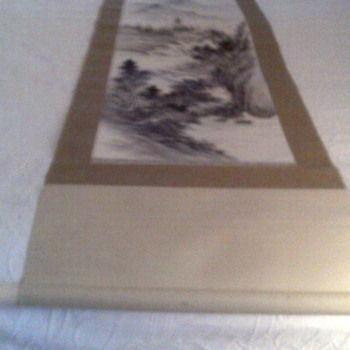 Asian original painted scroll with chop mark?