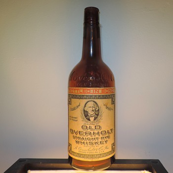 1952 Old Overholt 4/5 Quart Whiskey Bottle Owens-Illinois Glass Broadford Pennsylvania Embossed Labeled Vintage - Bottles