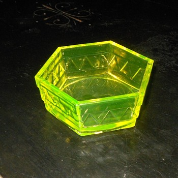 Six Sided Vaseline Glass Bowl of Some Sort - Glassware