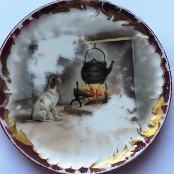Mystery FRANCE China Porcelain Plate w/ Dog Fireplace Scene - China and Dinnerware