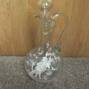 Mary Gregory style glass decanter - Glassware