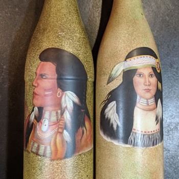 (Vintage?) Glass Bottles decorated with Native American Images  - Bottles