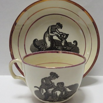 Georgian Bat Printed Porcelain Cups and Saucers and Creamer - China and Dinnerware