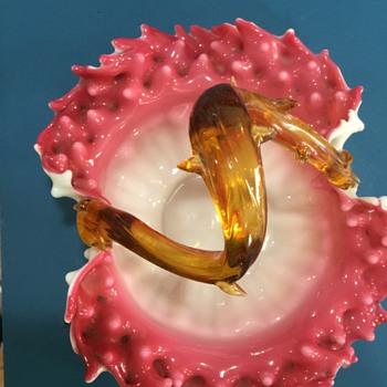 Art Glass Thorn Handled Basket - Art Glass