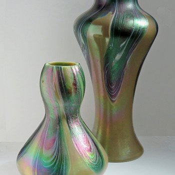 Rindskopf Iridescent Pulled Feather Vase - Art Glass