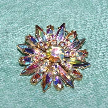 AB Vintage Rhinestone Brooch (Unmarked) - Costume Jewelry