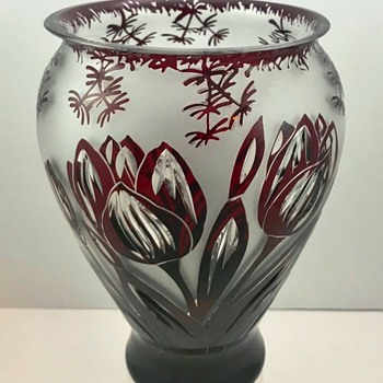 Loetz Rubin Cut to Clear Tulips Vase.  PN III-512 - Art Glass