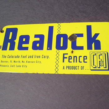 Realock CF&I Porcelain Fence Sign - Advertising