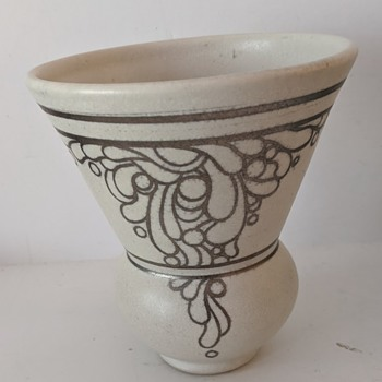 White Matte Pottery Vase With Silver Applied Decoration   - Pottery