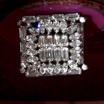 Vintage Joseph Warner Square Domed Rhinestone Brooch Pin  - Costume Jewelry