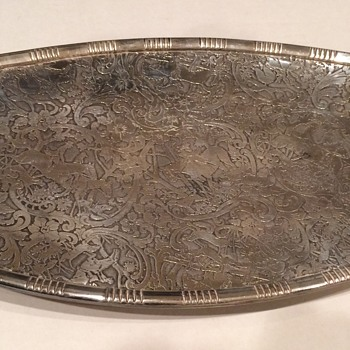 Vintage Silver Plate tray with a hunting scene - Silver