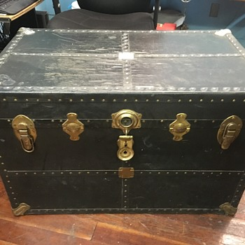 Antique trunk, leather covered, want any info you can tell me - Furniture