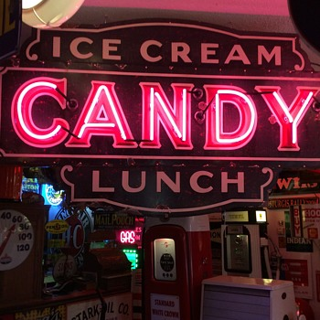 1930's Embossed Porcelain Neon Sign...Ice Cream, Candy and Lunch