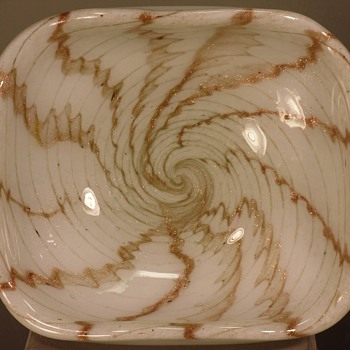 "Murano - Venetian Glass - White Footed Bowl - Aventurine - Swirl - 4"" - Art Glass"