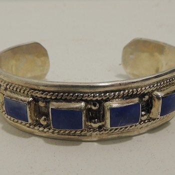 Signed Sterling & ? LATON Cuff - TAXCO TF-40 - Fine Jewelry