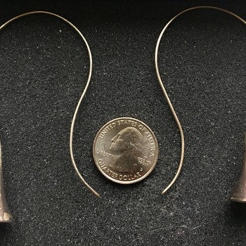 Mexican 950 Silver Long Hook Earrings - Fine Jewelry