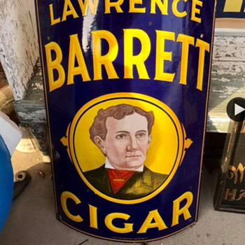 Lawrence Barrett Cigar sign - Tobacciana