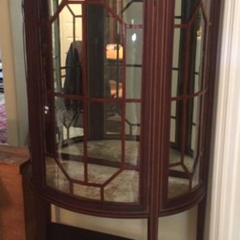 Todays Estate Sale Find Beautiful Inlaid Vitrine Curio - Furniture