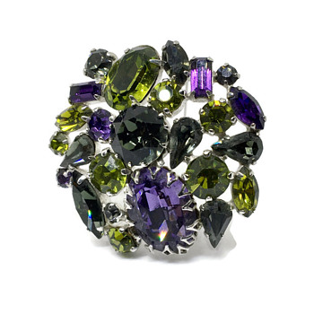 Grey, Purple and Olive make up this Sherman Brooch - Costume Jewelry